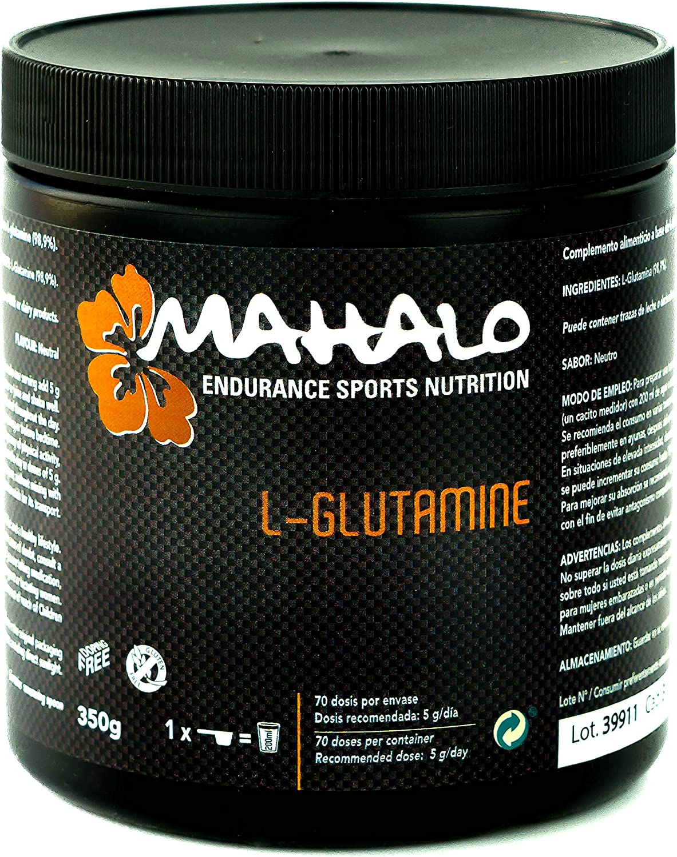 MAHALO L-GLUTAMINE. 350 g. Complemento alimenticio en polvo de sabor neutro a base de L-Glutamina con un 98,9% de pureza.
