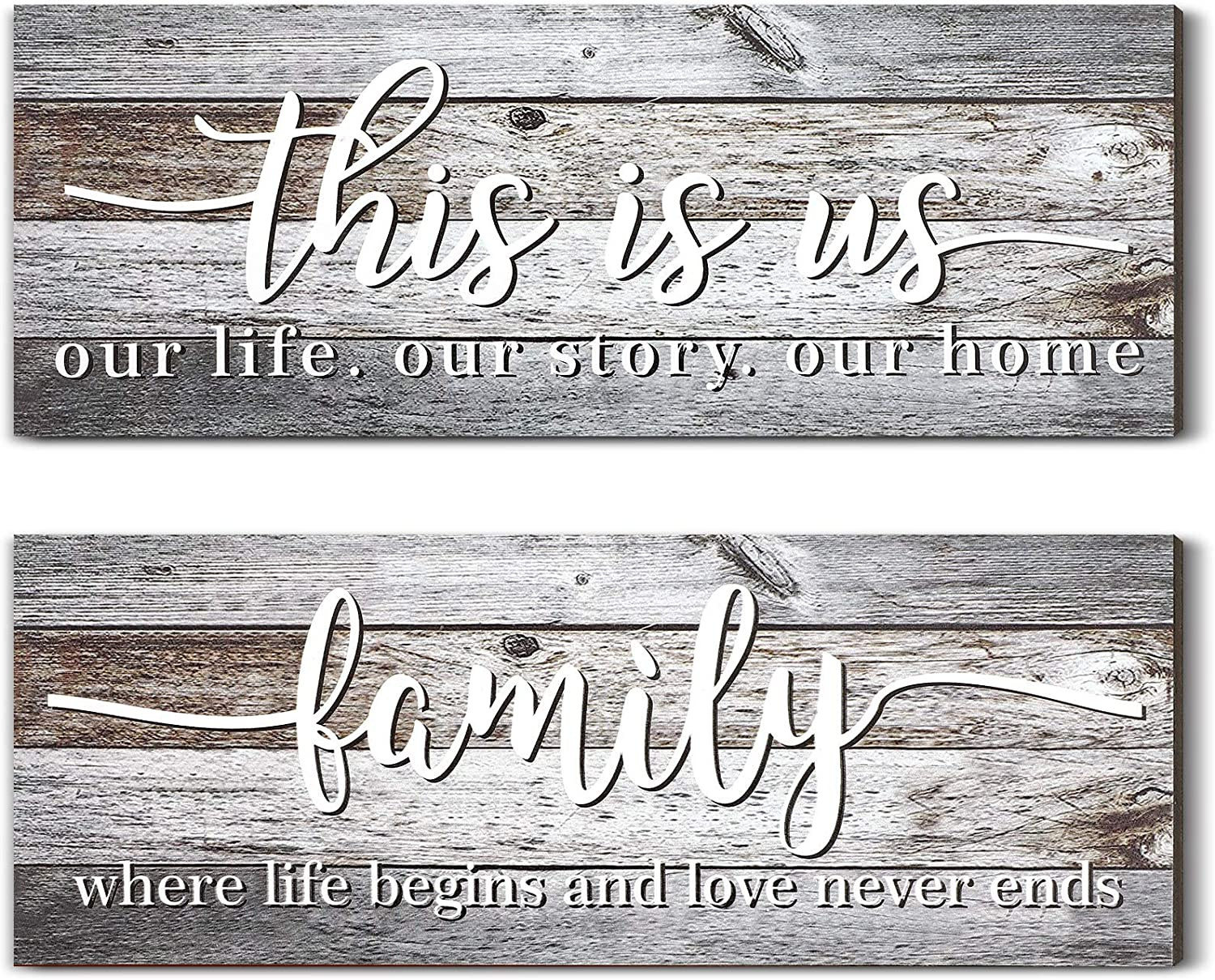 Jetec 2 Pieces This is Us Rustic Print Wood Sign Framed Family Rustic Wooden Wall Decor Farmhouse Entryway Signs for Bedroom Living Room Office Home Wall Outdoor Decor (Rustic Gray)