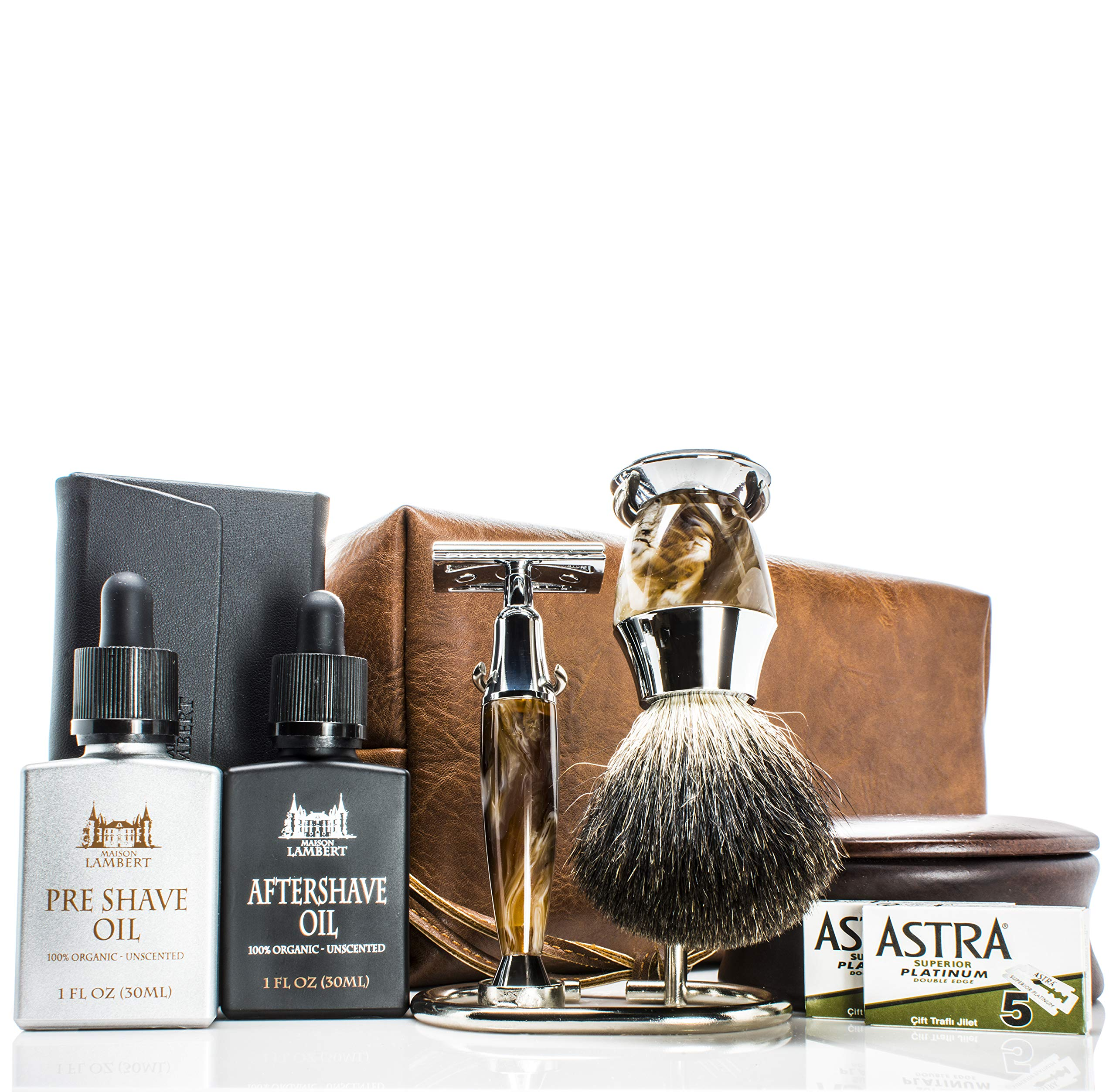Maison Lambert Ultimate Shaving Kit Set with Organic Shaving Soap, Aftershave oil, Wood Shaving Bowl, 100% Pure Black Badger Shaving Brush and Double Edge Safety Razor and stand. Best fathers day gift by Maison Lambert