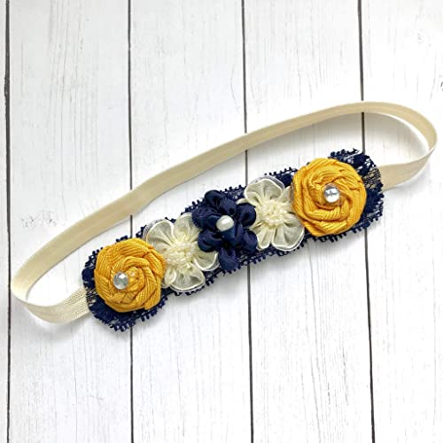 Amazon.com  Navy Mustard Yellow Ivory Dainty Baby Headband 28e6b558696