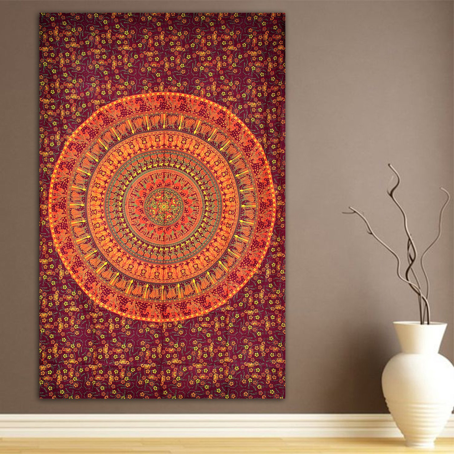 Elephant Camel Tapestry Indian Hippie Wall Hanging Bohemian - Tapices-pared