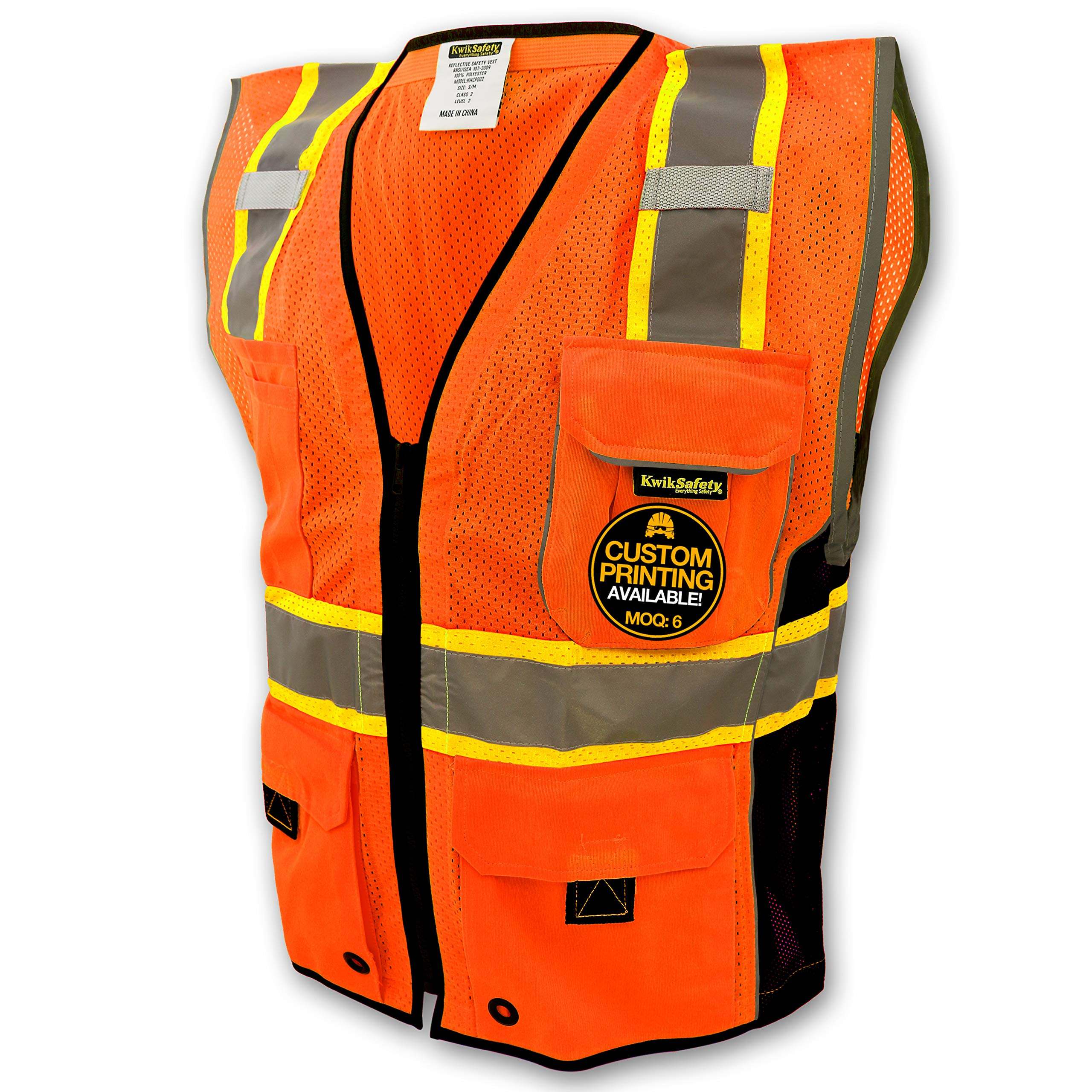 KwikSafety CLASSIC Safety Vest | Class 2 ANSI OSHA PPE | High Visibility Reflective Stripes, Heavy Duty Mesh with Pockets and Zipper | Hi-Vis Construction Work Hi-Vis Surveyor | Orange L/XL