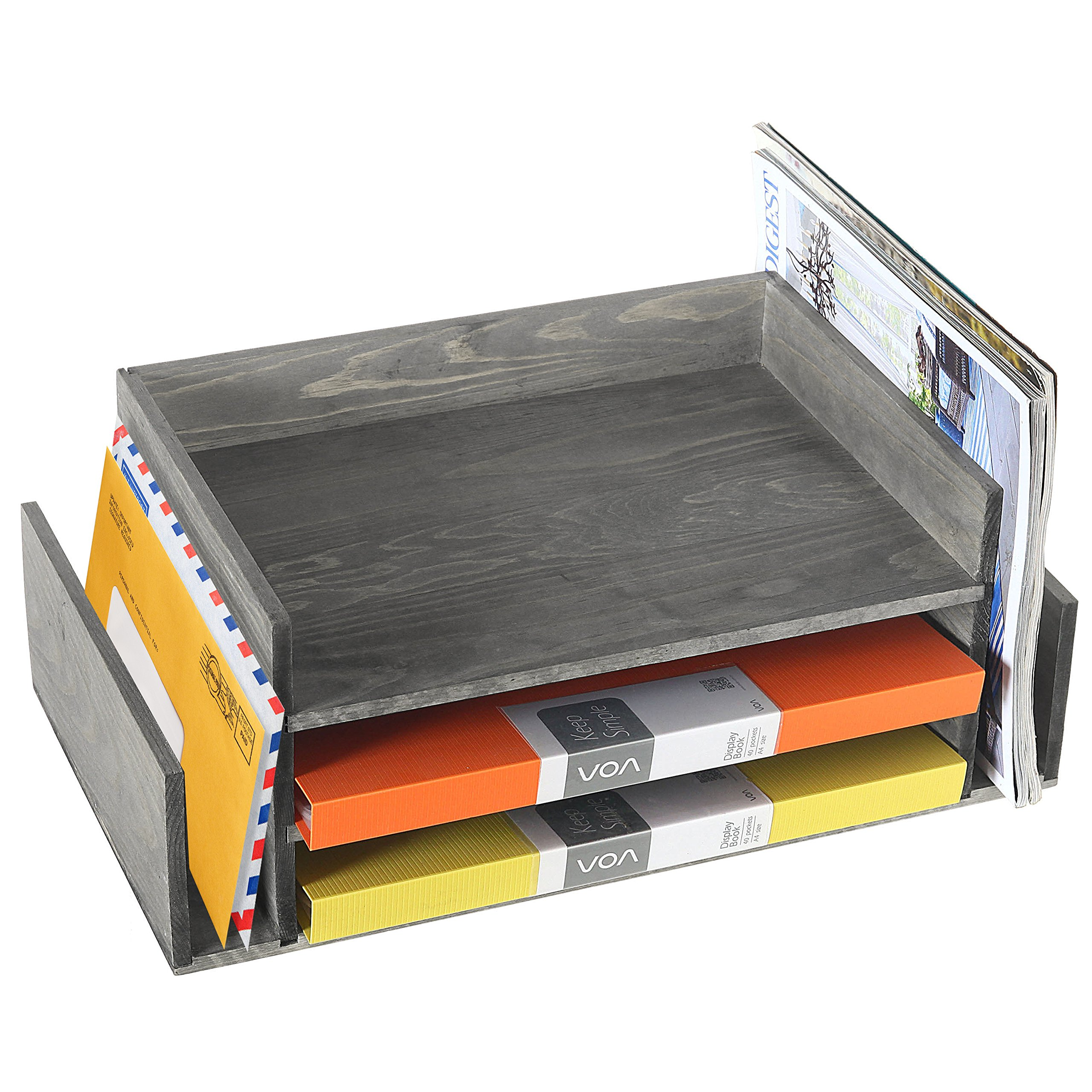 Weathered Gray Wood 3-Tier Office Desktop Document Tray & Mail Sorter Organizer Rack by MyGift