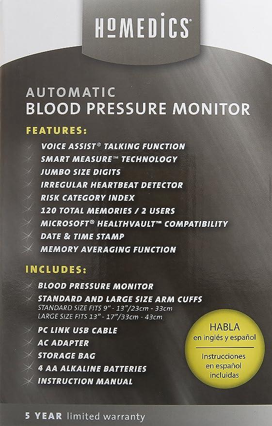 HoMedics BPA-260-CBL Automatic Blood Pressure Monitor, Gray: Amazon.es: Salud y cuidado personal