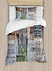 Ambesonne Primitive Country Duvet Cover Set, Retro Neglected Old Farmhouse Rustic Wooden Door and Window Rural, Decorative 2 Piece Bedding Set with 1 Pillow Sham, Twin Size, Brown Green