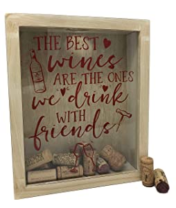 Wine Cork Shadow Box - Cork Holder Wine Decor For Home and Kitchen - Rustic White, 11 x 9 - Holds Over 60 Corks