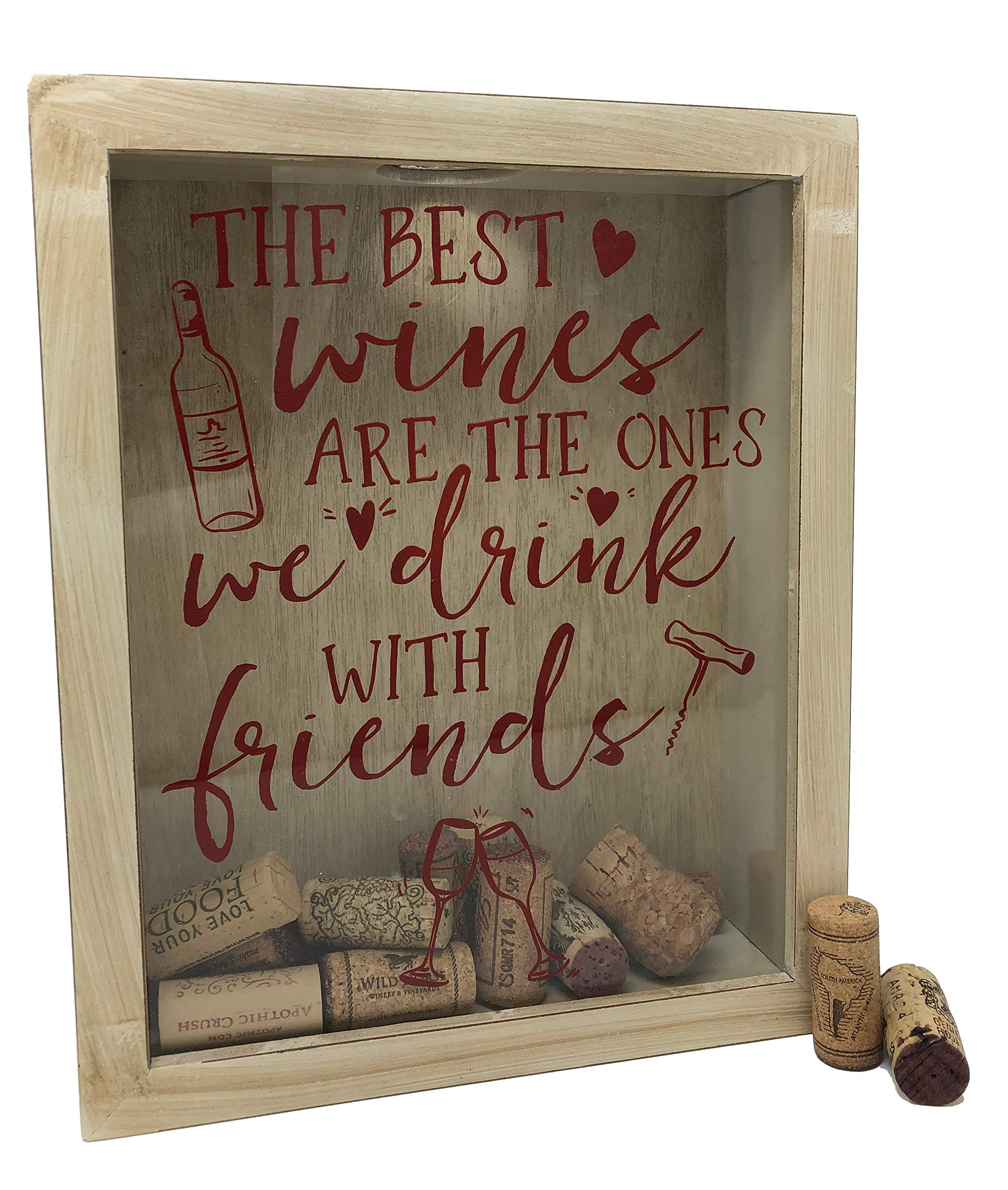 Napa Gift Store Wine Cork Shadow Box & Display Case in Rustic White - Holds Over 60 Corks - 11'' x 9'' - Free Stand or Wall Hanging - Wine Decor, Cork Holder for Kitchen & Home