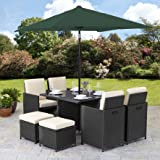 Bella Life Rattan Cube Garden Furniture Set 8 seater outdoor wicker 9pcs with Parasol (Brown)
