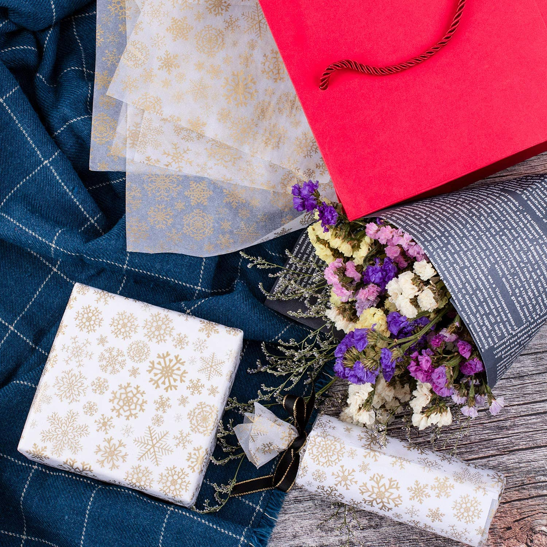 50/feuilles de papier de soie Whaline Flocon de neige sans acide papier demballage 50,8/x 35,6/cm pour bricolage et artisanat sacs cadeaux D/écorations dor/é
