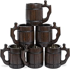 Handmade Beer - Mug Set of 6 - Wood Natural Stainless Steel - Cup Men - Woden Tankards Barrel Souvenir Round Brown