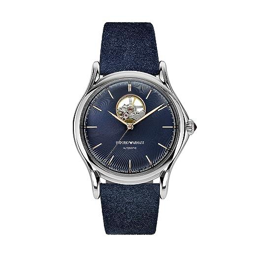 Emporio Armani Reloj Analógico para Hombre de Automático con Correa en Cuero ARS3305: Amazon.es: Relojes