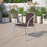 Flash Furniture 4 Pack Commercial Aluminum and Dark Brown Rattan Indoor-Outdoor Restaurant Stack Chair