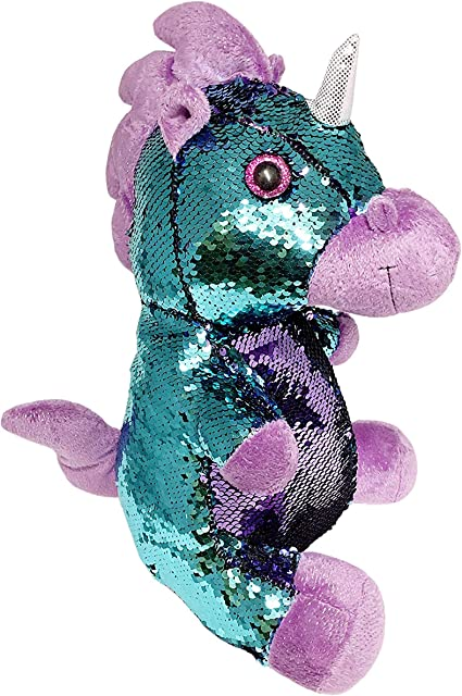Reversible Mermaid Sequins Narwhal Plush Pink, 10