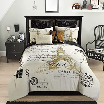 amazon com casa paris gold 8 piece comforter set full home kitchen
