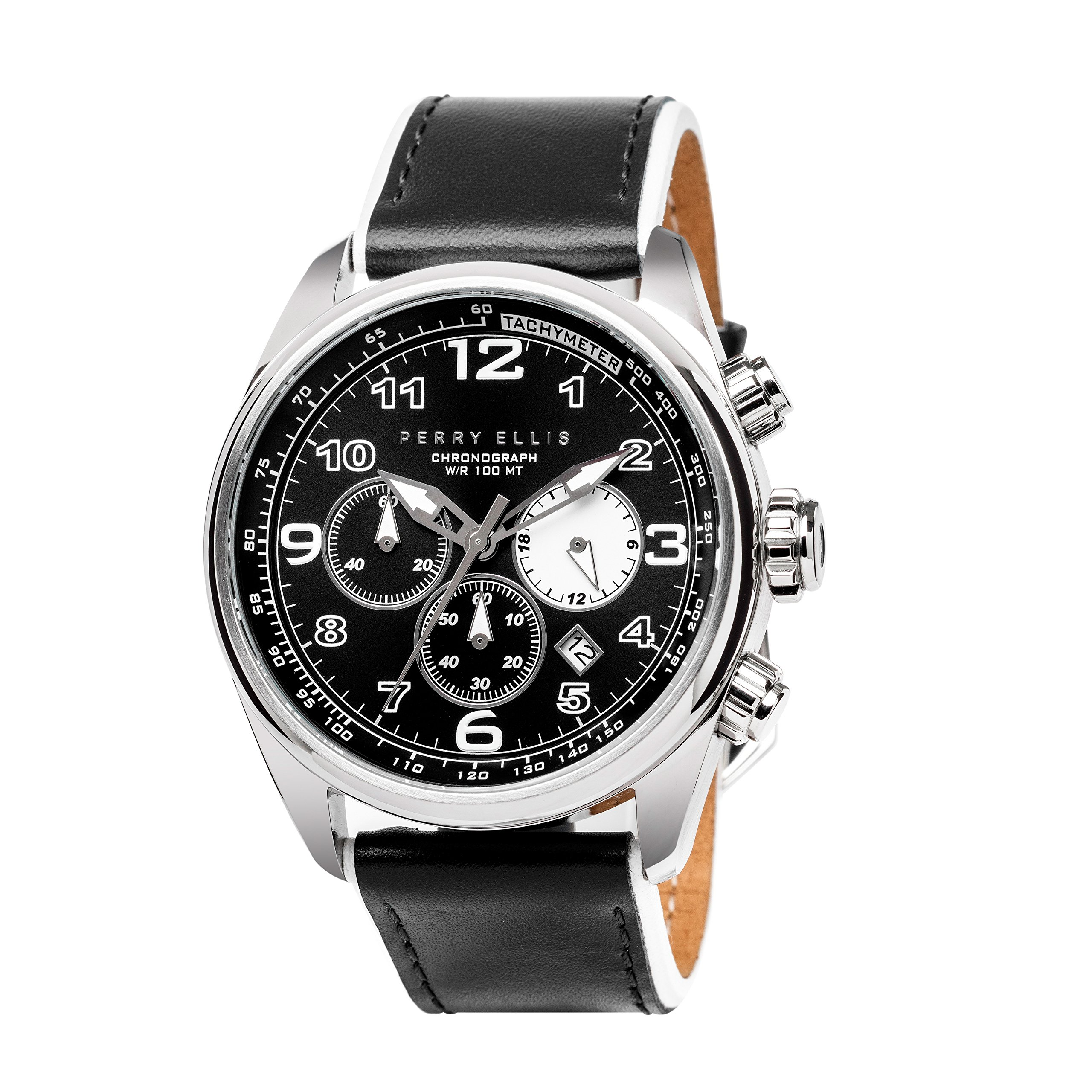 Perry Ellis GT Chronograph Quartz Luminous Watch with Date Genuine Leather Band Waterproof Black Dial Men Watch 01002-01 by Perry Ellis
