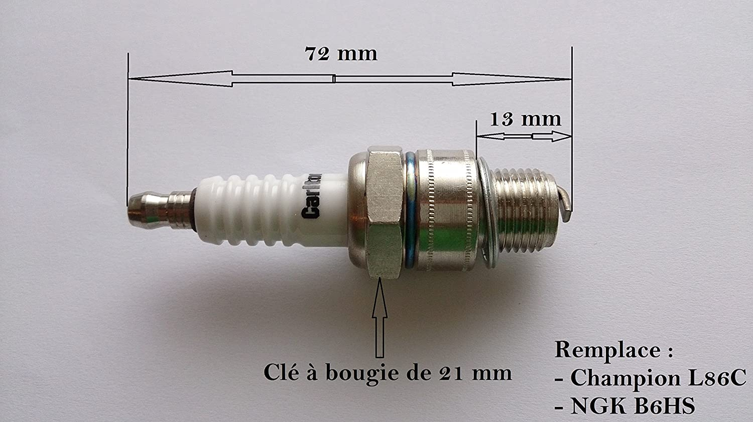 Candle for Large 2 Stroke Motor Replaces NGK B6HS L86C Champion Jardiaffaires 3770005428053
