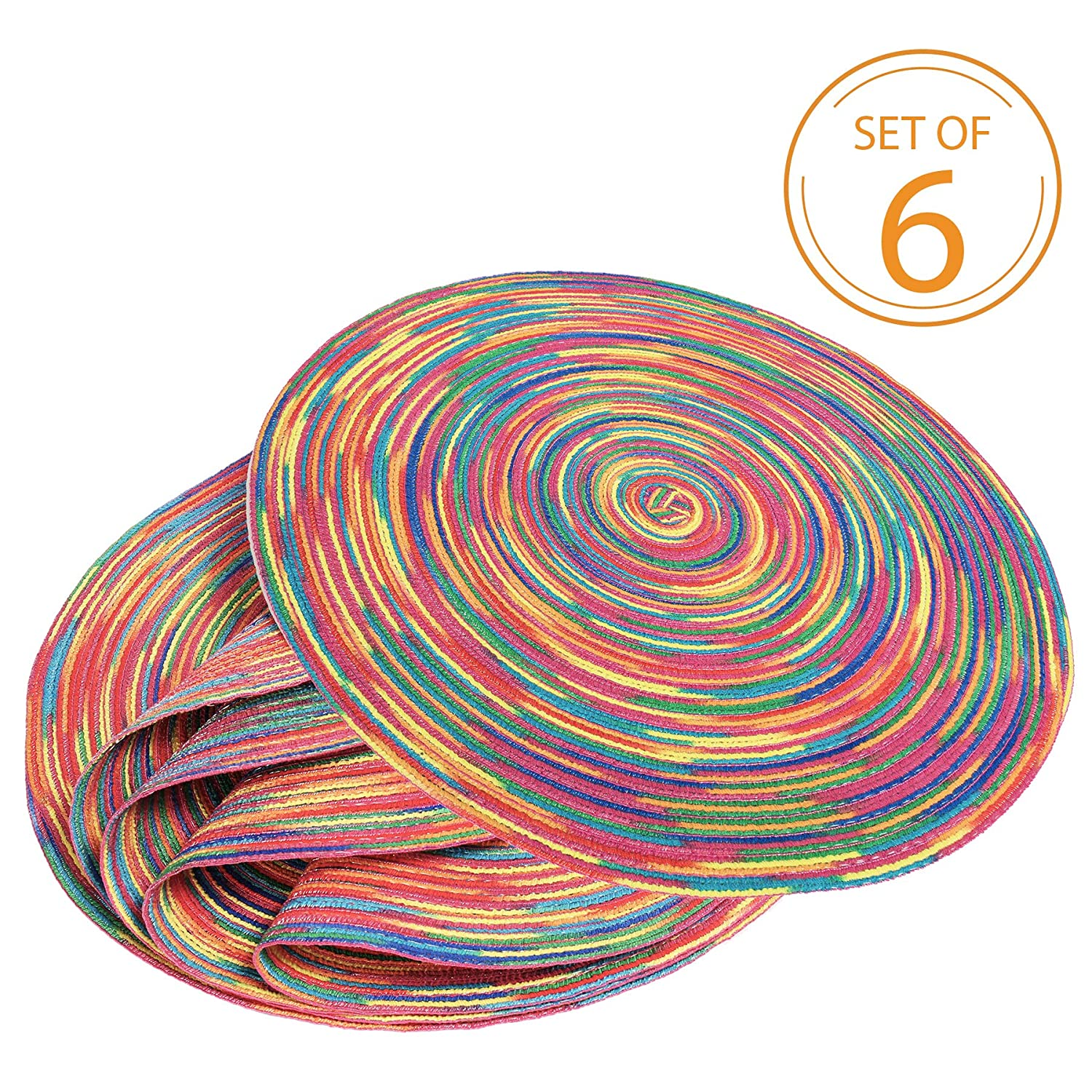 Braided Colorful Round Place mats for Kitchen Dining Table Runner Heat Insulation Non-Slip Washable Set of 6