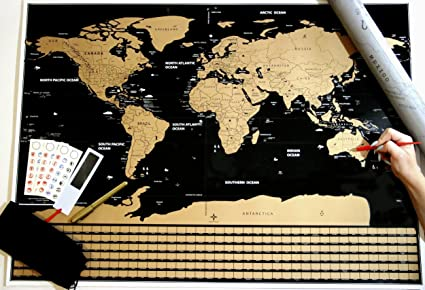 Amazon scratch off world map travel educational map large scratch off world map travel educational map large travel tracker world map free accessories bag gumiabroncs Images