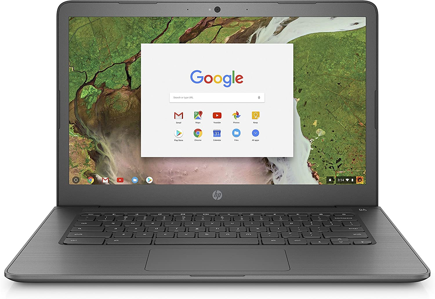 HP Chromebook 14-inch Laptop with 180-degree hinge, Intel Celeron N3350 Processor, 4 GB RAM, 16 GB eMMC storage, Chrome OS (14-ca020nr, Gray) (Renewed)