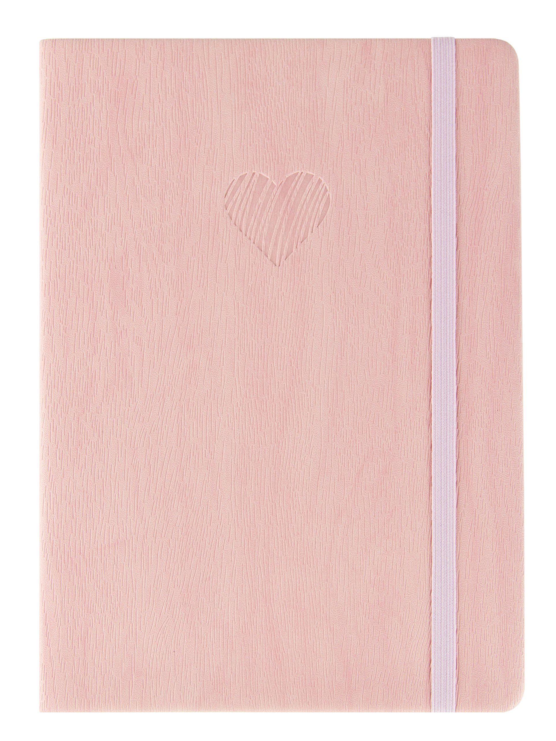 Red Co Journal with Embossed Heart, 240 Pages, 5''x 7'' Lined, Pink