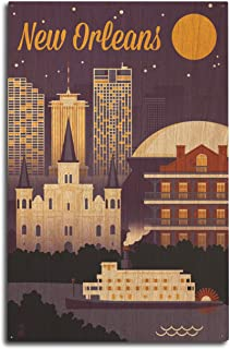 product image for Lantern Press New Orleans, Louisiana - Retro Skyline - Purple 95398 (10x15 Wood Wall Sign, Wall Decor Ready to Hang)