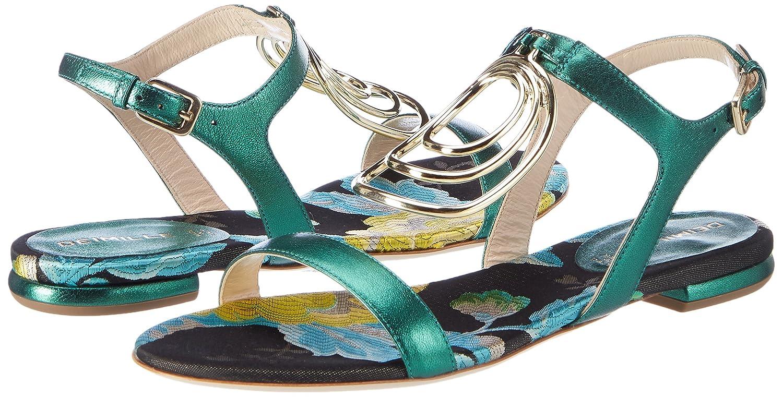 Dominga, Sandales Compensées Femme, Vert (Smeraldo/Silver), 39 EUDeimille