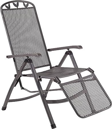 greemotion Relaxsessel Toulouse eisengrau, Stuhl mit 5 fach Verstellung und Fußteil, Gartenstuhl aus schmutzunempfindlichem Streckmetall,