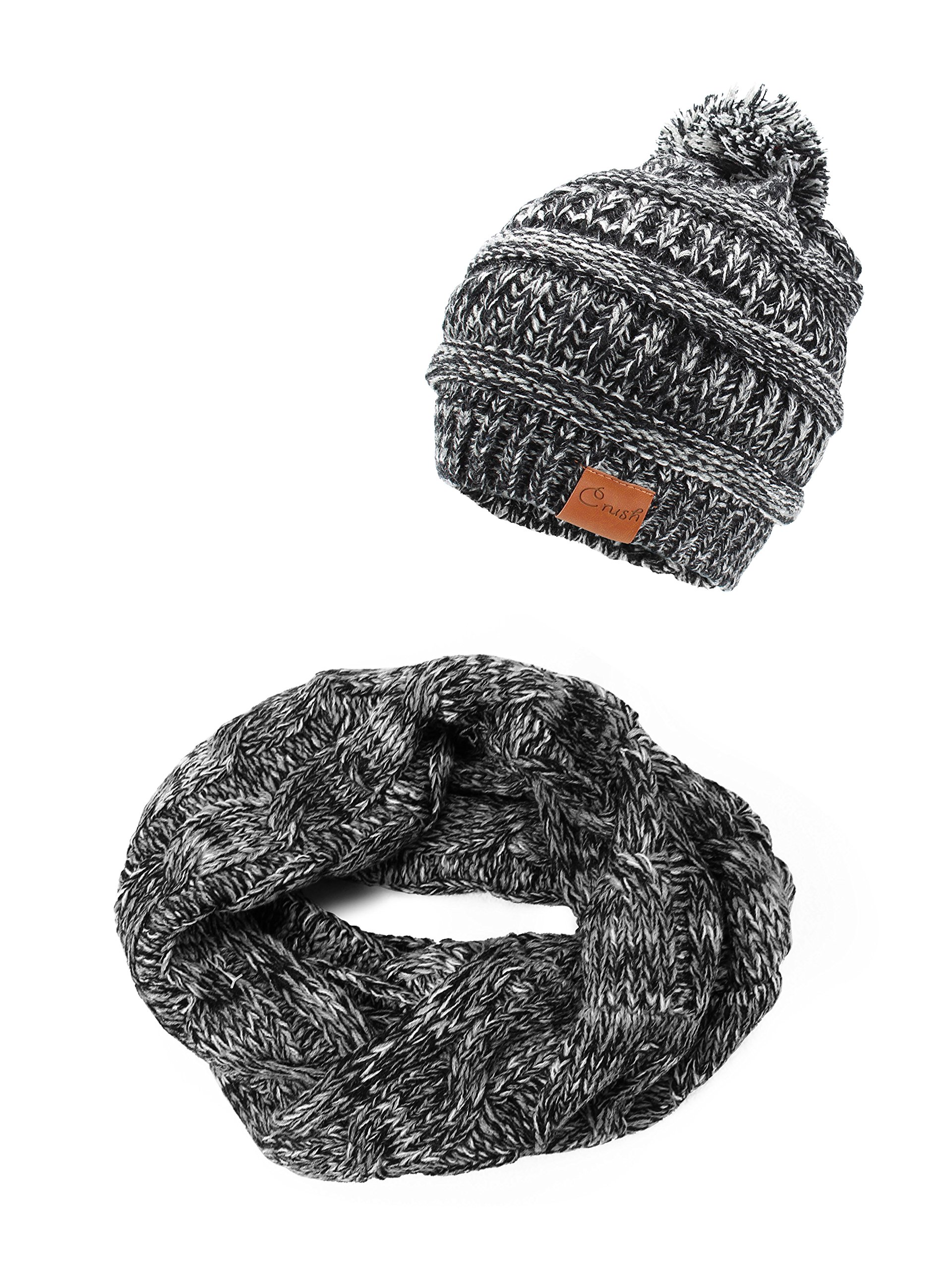 Crush Kids Girls Knit Pompom Beanie Hat and Scarf Set One Size Fits Most Plain Black