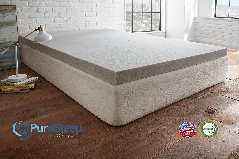 amazon com purasleep 3 carbon comfort memory foam topper grey