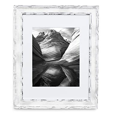 11x14 Picture Frame Distressed White - Matted to 8x10, Frames by EcoHome