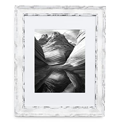 Amazoncom 11x14 Picture Frame Distressed White Matted To 8x10