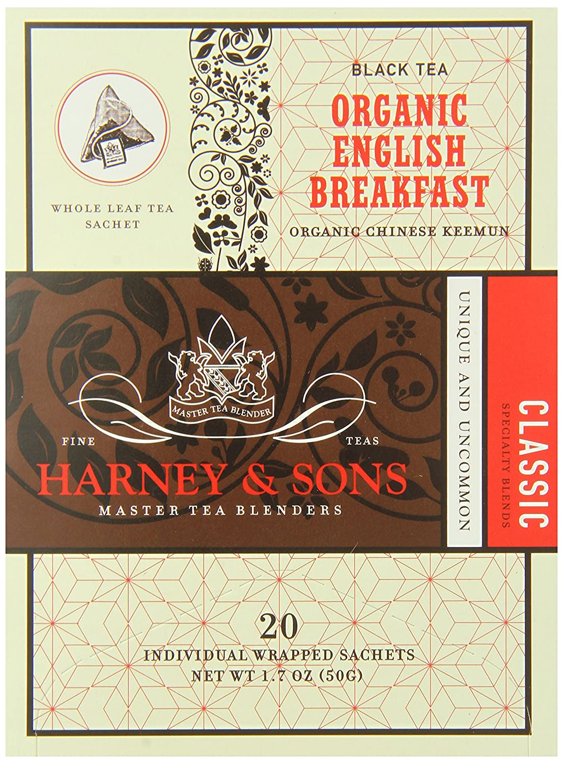B002YW78RU Harney & Sons Organic English Breakfast Black Tea, Wrapped Sachets 20ct (Pack of 6) 91bjxoJZIdL