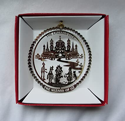 wizard of oz emerald city yellow brick road ornament brass christmas gift