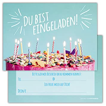 12 Lustige Einladungskarten Im Set Für Kindergeburtstag Party Mit Torte,  Kuchen, Kerzen Für Jungen