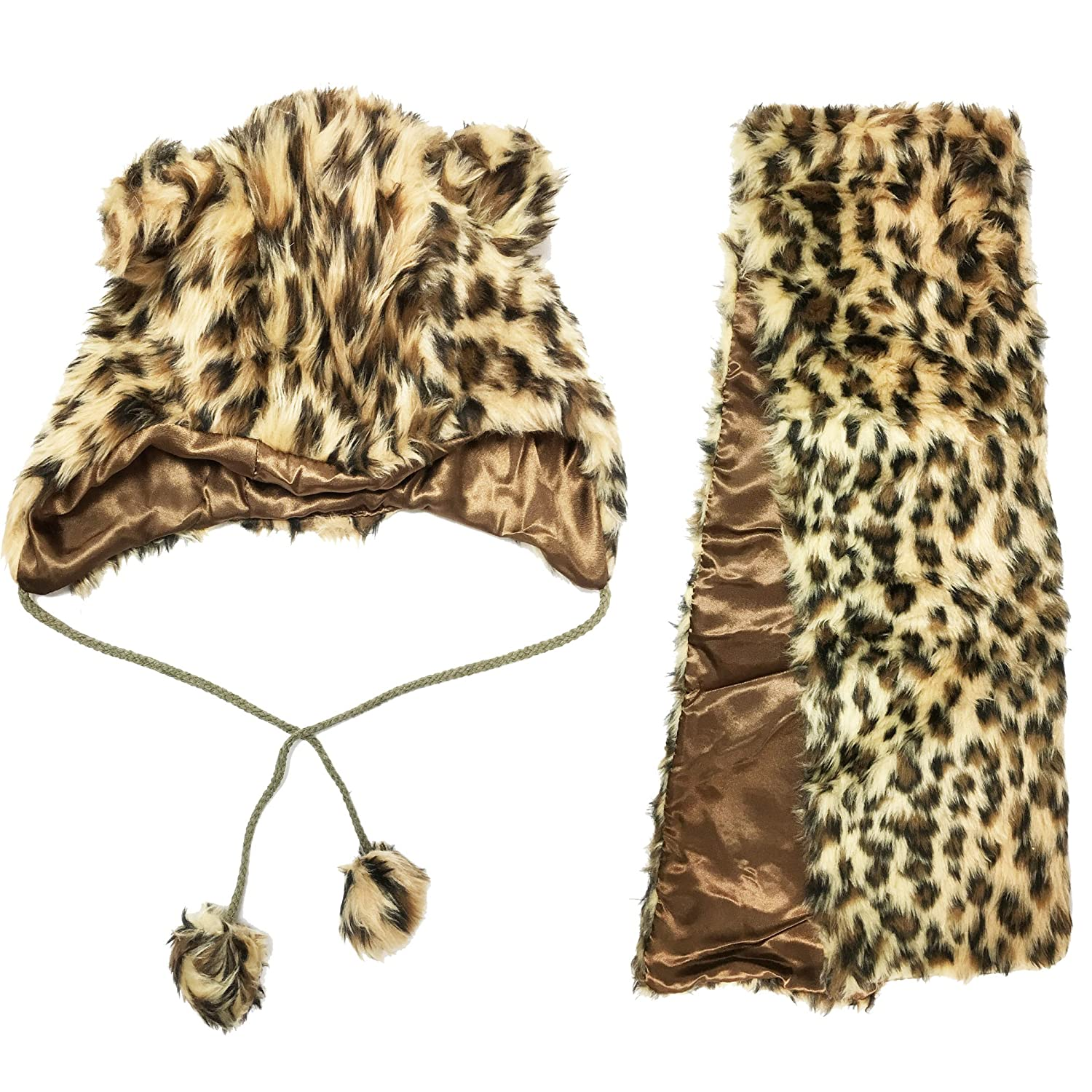 Christmas Xmas Faux Fur Printed Girl's Hat & Scarf 2Pc Set Size from 7-To-12 Years