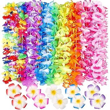 d8b7a5369cfb Amazon.com: 60 Counts Tropical Hawaiian Luau Flower Lei for Fancy ...