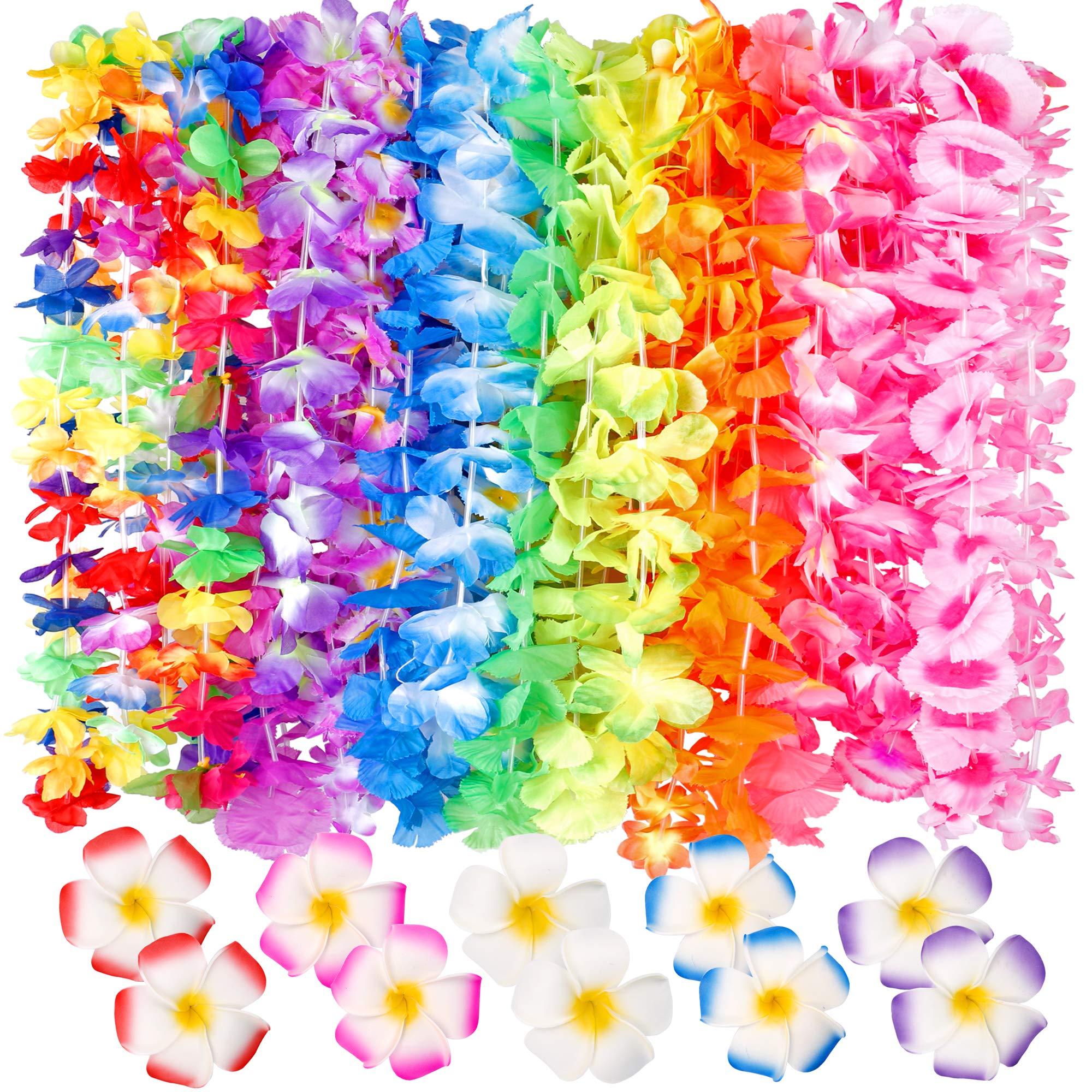 60 Counts Tropical Hawaiian Luau Flower Lei for Fancy Dress Party Beach Fun