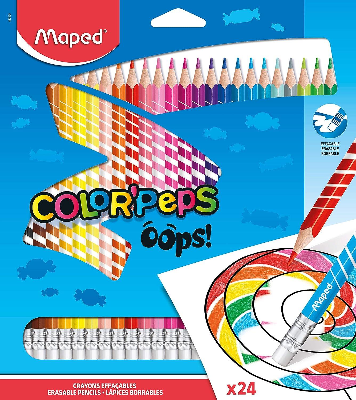 Maped Color Oops ColorPeps-24 lápices de colores con punta de borrador ergonómica triangular - Paquete de 24 lápices de resina borrables, 832824: Amazon.es: Oficina y papelería
