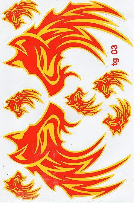 Las llamas de fuego amarillo Flame Hoja Racing Decal Sticker Tuning Racing Tama/ño 27 x 18 cm para el coche o la moto