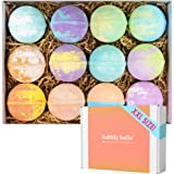 Bubbly Belle Bath Bombs Gift Set 12 Extra Large 5oz Fizzies with Pure Essential Oils, Coconut Oil, Epsom Salt, and Kaolin Cla