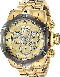 Invicta Mens Venom Quartz Watch with Stainless-Steel Strap, Gold, 26 (Model