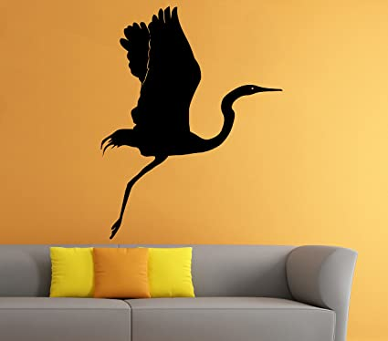 Heron Wall Vinyl Decal Lake Lough Bird Animal Sticker Art Mural Home Removable Decor (4hero