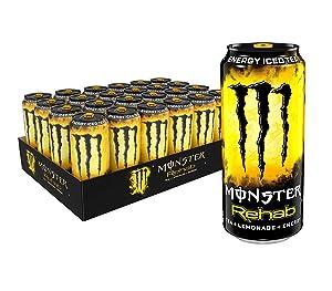 Monster Energy Rehab Tea + Lemonade + Energy, Iced Tea, 15.5 Ounce