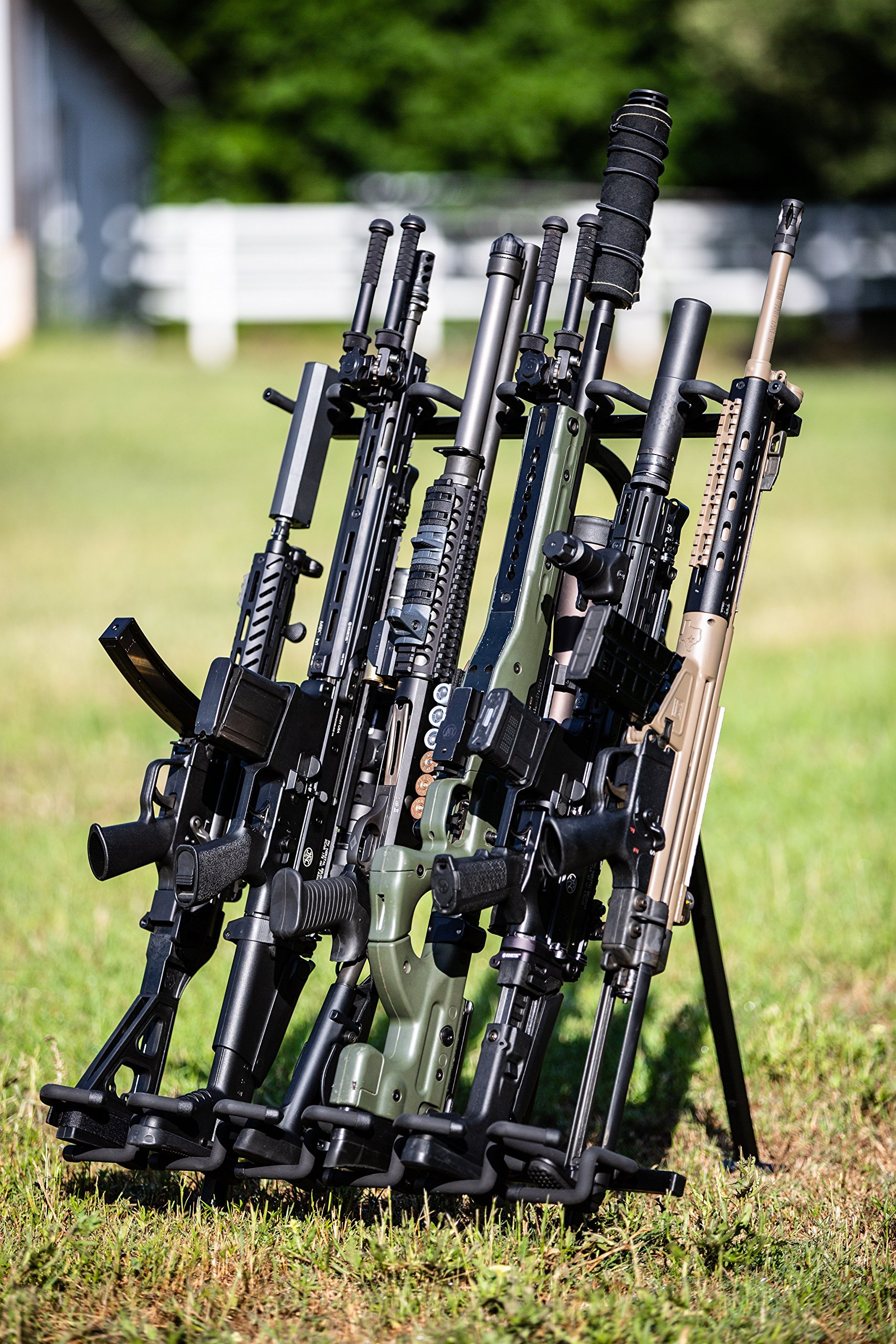 Hold Up Displays Portable Gun Rack and Bow Holder - Tactical Freestanding Folding Firearm Stand Holds Any Rifle or Bow - Keeps Guns Organized at The Shooting Range - Made in USA with Heavy Duty Steel by Hold Up Displays (Image #8)