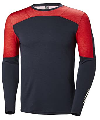 2cce7ee04a Helly Hansen Men's HH Lifa Merino Crew Long Sleeve Thermal Baselayer Top,  Navy, Small