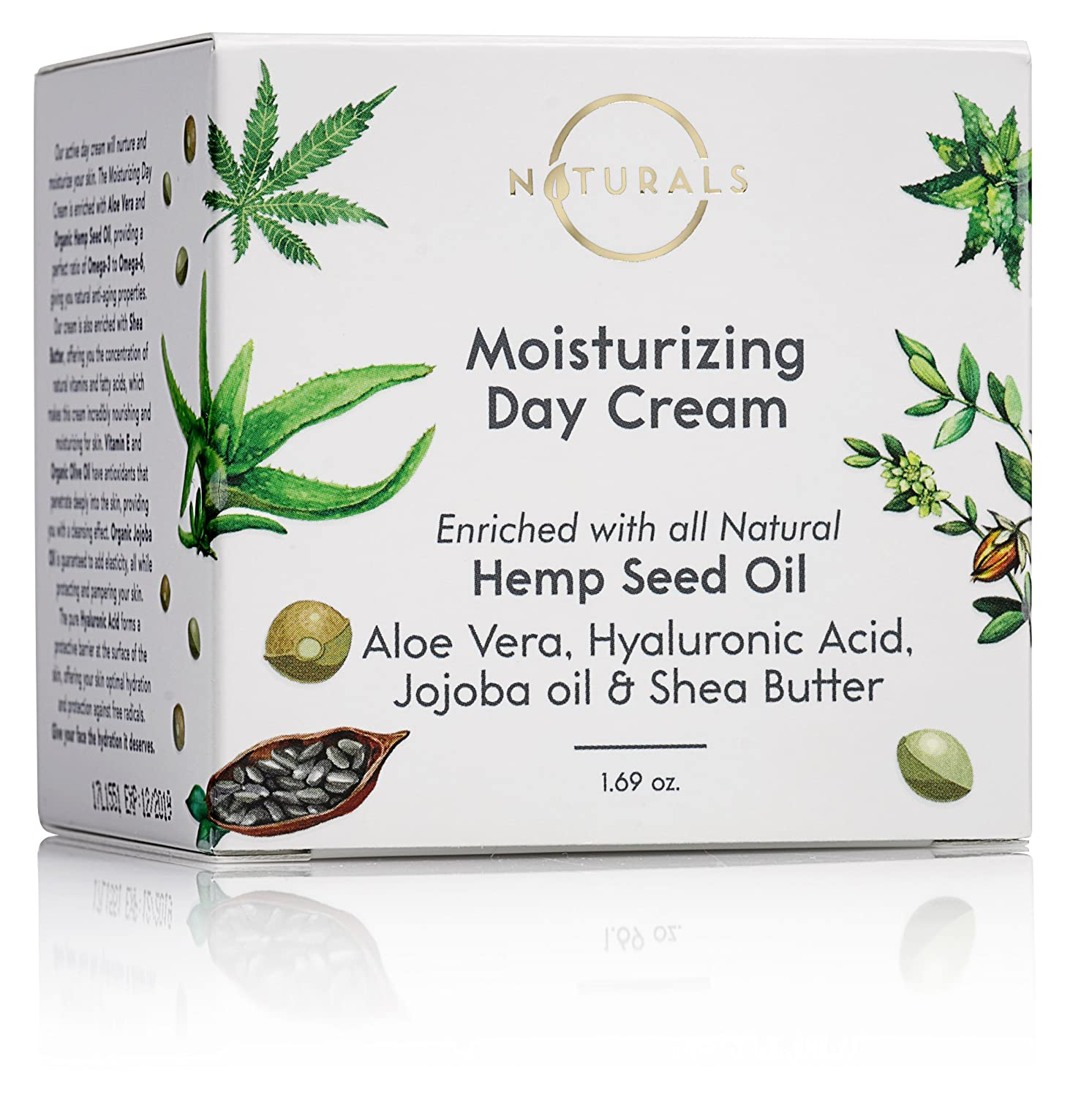 O Naturals Organic Hemp Seed Oil Anti-Aging Moisturizing Day Cream for Face & Neck. Reduces Wrinkles, Protects from Free Radicals & Hydrates Skin. w/Aloe Vera, Hyaluronic Acid & Jojoba Oil 1.69 oz.