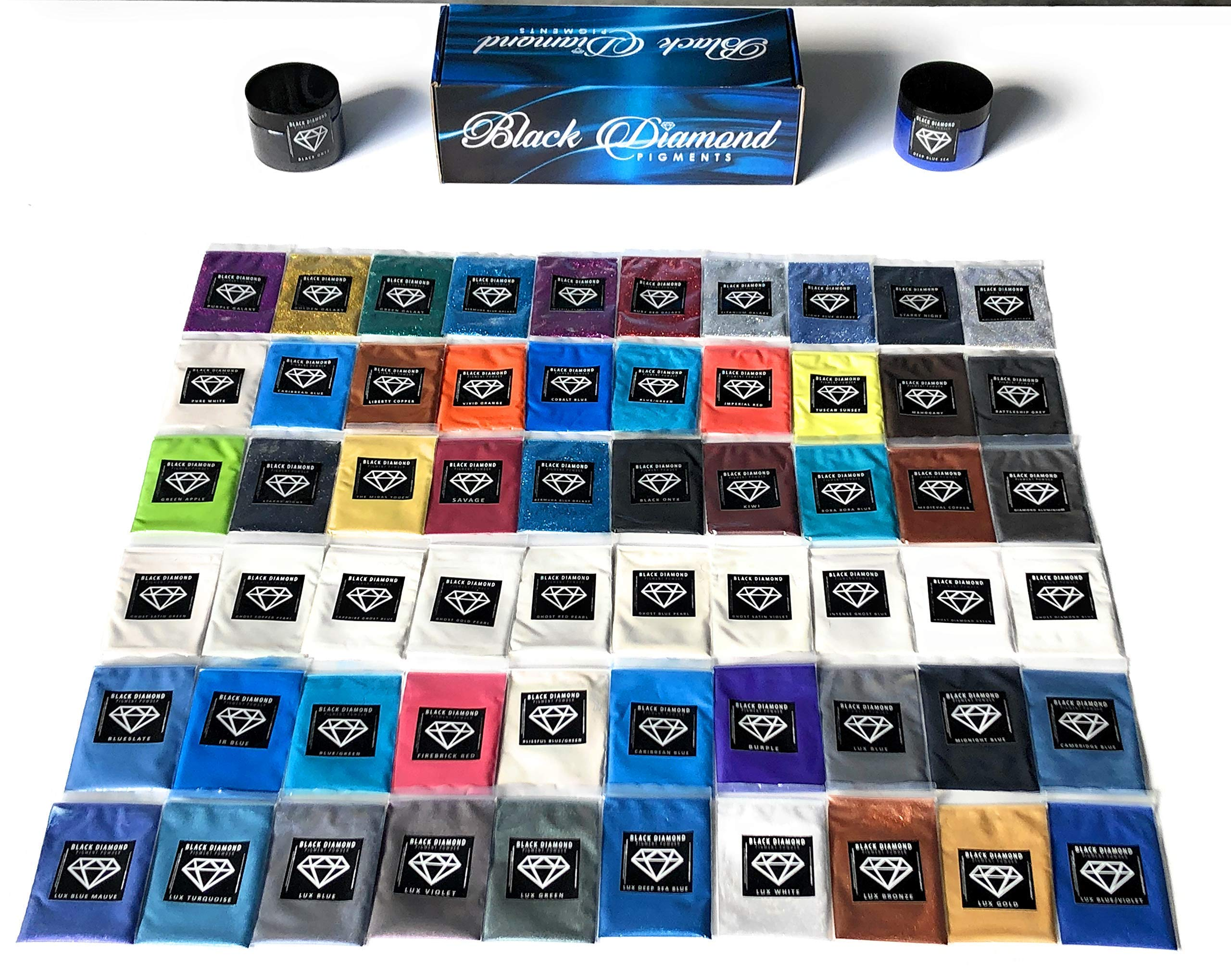 ''Pigment Box Set 2'' (2-42g Containers) are (6 Variety Packs) 60 5g Packs Total Including Ghost pigments (Epoxy,Slime,Resin,Soap) Black Diamond Pigments by BLACK DIAMOND PIGMENTS