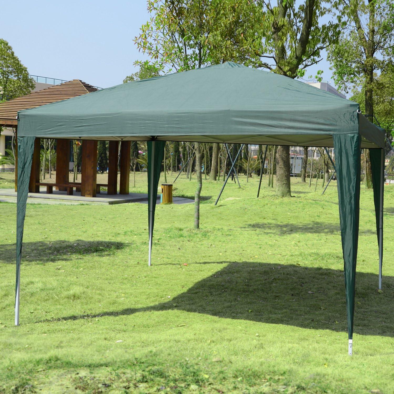 Outsunny Carpa Gazebo con Paredes Desmontables Ventanas Visibles Puerta con Cremallera Incluye Bolsa de Transporte Cuerdas y Piquetas 3x3 m Verde: Amazon.es: Jardín