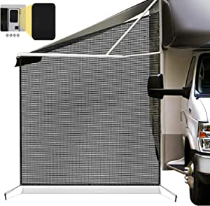 COOLTOP RV Awning Side Shade Screen 9'X7' for Camping Trailer Canopy UV Sun Blocker, Bundle with Kohree RV Door Window Shade, 24 x 16
