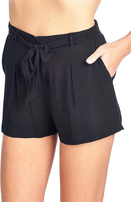 Khanomak Solida Leggera Mid-Rise Annodare della Cinghia del Nastro Vita Elasticized Slanted Tasche Frontali Shorts